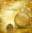 Golden Xmas greeting card vector image vector image