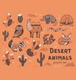 set of desert animals vector image