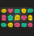 hand drawn set of speech bubbles with vector image