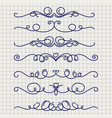 cute doodle thin line borders vector image vector image