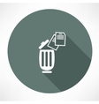 bin with documents icon vector image