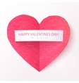 Pink textured folded heart with paper sticker vector image vector image