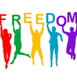 Freedom concept with people jumping silhouettes vector image vector image
