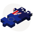European Union and Cook Islands Flags in puzzle vector image