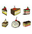 Set of sketch cake vector image