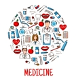 Medicine equipment icons in round shape vector image