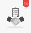 Handshake with checklist icon successful agreement vector image