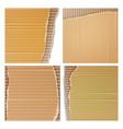 Corrugated cardboard set realistic texture vector image