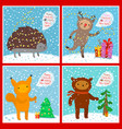 cute animals set greeting card vector image