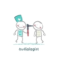 otolaryngologist examines the ear of the patient vector image