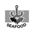 seafood menu monochrome logotype with fishes and vector image
