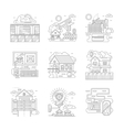 Security facilities detailed line icons set vector image