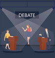 two politician debate on stage podium public vector image