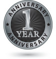 1 year anniversary silver label vector image