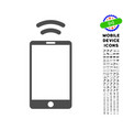 mobile irda signal icon with set vector image