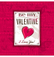 Red background with valentine heart and greeting vector image