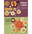Mediterranean cuisine with french italian dishes vector image