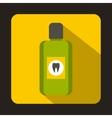 Bottle of green mouthwash icon flat style vector image