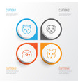 animal icons set collection of puppy rat kitten vector image