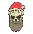 bad santa skull vector image