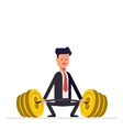 Businessman or manager can not lift a heavy vector image