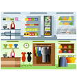 interiors of grocery and clothing store vector image