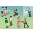 Isometric Services People in Some Positions vector image