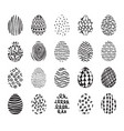 set of 20 hand drawn ink eggs for easter greeting vector image