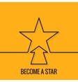 Star Concept Line On Yellow Background vector image