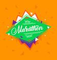 marathon hand written lettering on geometric vector image