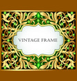green background with gold pattern and precious vector image