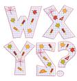 sheet alphabet Letter W X Y Z question mark vector image
