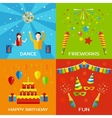 Party Dance Fireworks Happy Birthday concept vector image