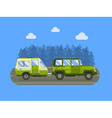 Road Traveler SUV and Camper Trailer Concept vector image