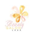 beauty salon original logo design with delicate vector image