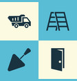 building icons set collection of entrance stair vector image