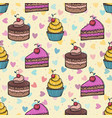 funny sweet seamless pattern with hand drawn vector image