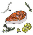 image of steak of red fish salmon lemon and herbs vector image
