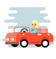 the woman behind the wheel red car flat design vector image