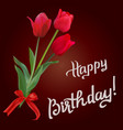 tulips frame for birthday greeting card vector image