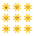 cartoon cute sun character emoji vector image vector image