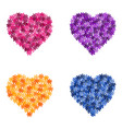set of flower hearts vector image vector image