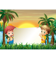 Two kids at the riverbank holding an empty signage vector image vector image