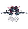 Sugar Skull Girl in Flower Crown7 vector image