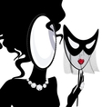 lady-mirror with half-mask vector image