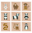 assembly flat shading style icons panda monkey vector image