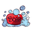 soap with foam hand drawing vector image