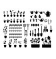 Black silhouettes of gardening tools plants vector image