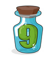 Number 9 in bottle Green figure in a blue glass vector image