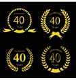 forty years anniversary laurel gold wreath set vector image